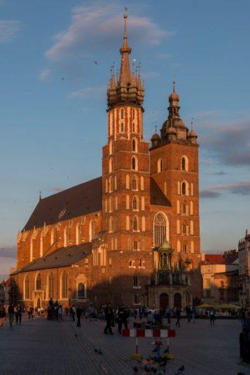 Church glowing orange in the evening sun