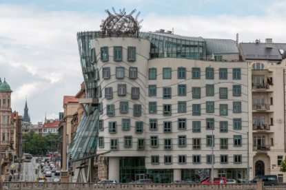 Funky looking leaning building in Prague