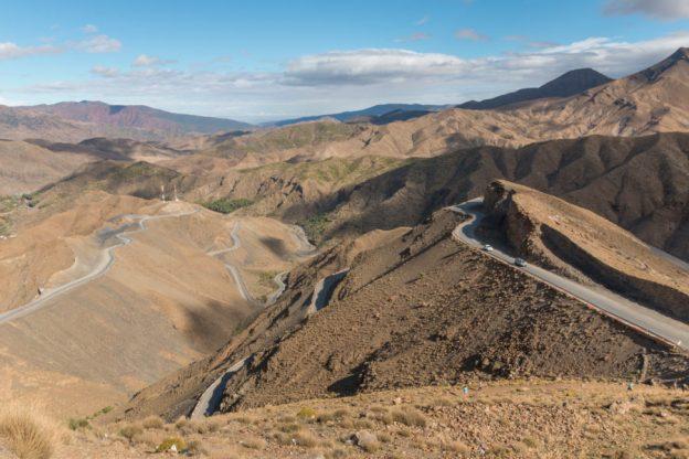 Roads ribboning the Atlas Mountain
