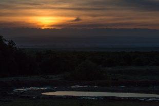 Sunset over the vast land