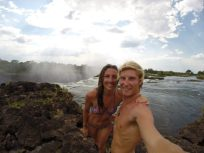 Selfie before swimming on the egde of the falls!