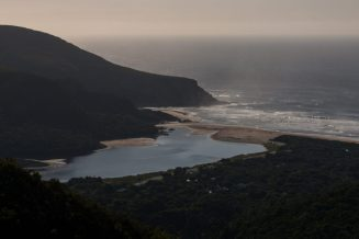 Strorms river mouth flowing out to see from above