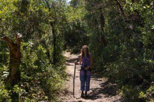 Tegan walking with a gandalf stick through the bushes