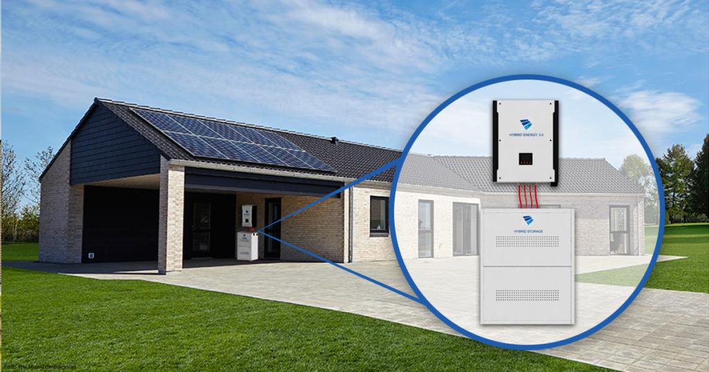 Placeringen af et hybrid solcelleanlæg med batteri