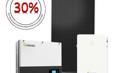 5.7 kWp hybrid solcelleanlæg med lithium batterilager