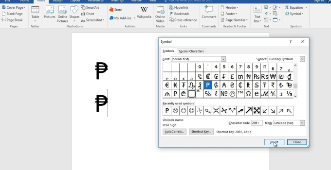 How to Insert the Peso Sign in Microsoft Word