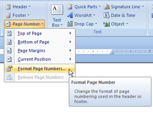 Set up Page Numbers