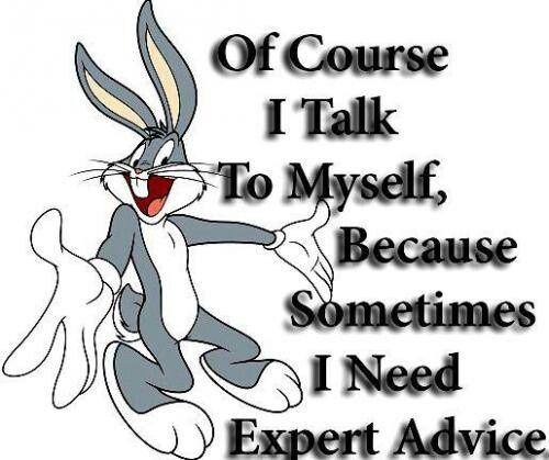 Ofcourse I talk to myself because sometimes, I need expert advice