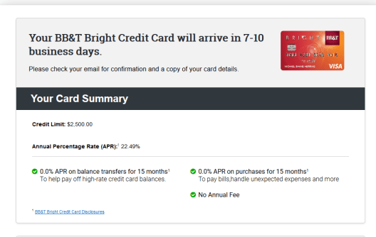 How to use the BB&T Bright card