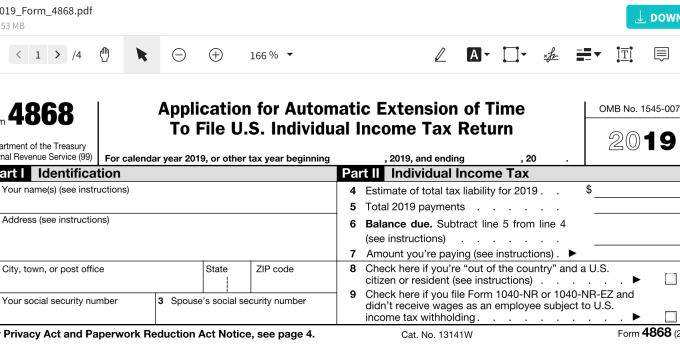 IRS Extension Form