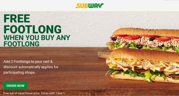 Subway Coupon and Promo Code to get Free or Cheap Breakfast or Lunch