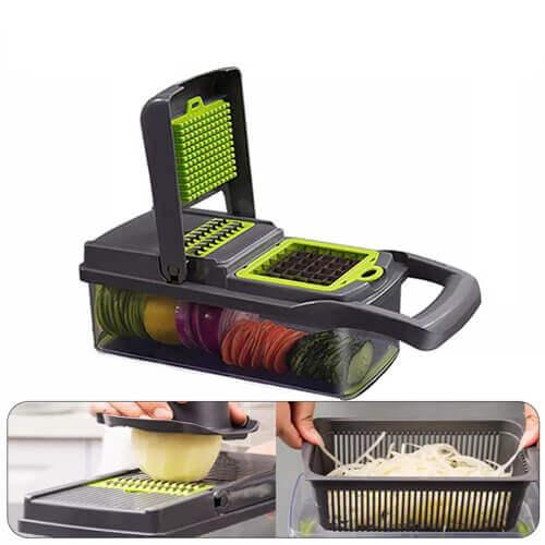 Trancheuse de légumes manuelle à 7 types de lames en acier inoxydable - Multifonction