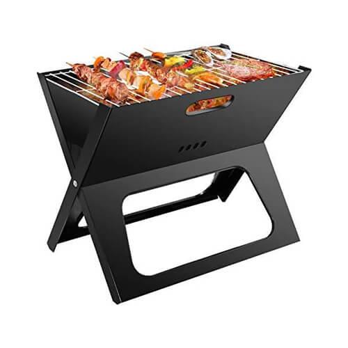 Barbecue portable pliable à charbon avec grille en acier inoxydable