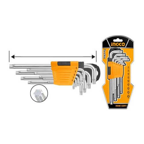 Clé Torx T10-T50 Ingco HHK13091 - Clé à laine jeu de 9 pièces