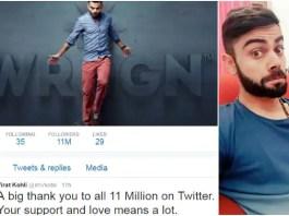 Virat Kohli reaches 11 million followers on Twitter, thanks Viratians for love and support!