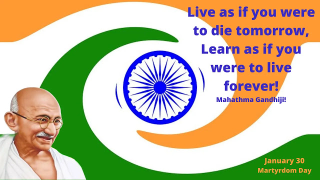 Mahatma Gandhi, Father of our Nation, who fought for the freedom of our Nation, was assassinated on 30 January 1948 by Nathuram Godse in the compound of Birla House in New Delhi. On 30 January every year, India mourns as Mahathma Ganndhijis Martyrdom. In 2021 January 30, we remember Bapuji on his 73rd death anniversary as Gandhiji's Martyrs' Day.