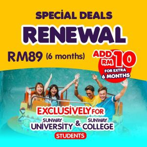 Renew your Annual Passport exclusively for Sunway Unviversity and Sunway College students.