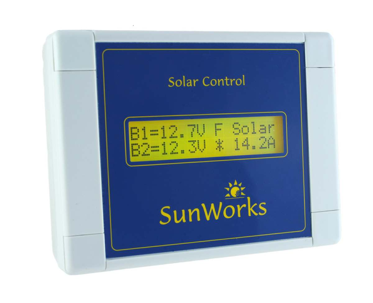dual battery solar charge controller by sunworks  lcd  240