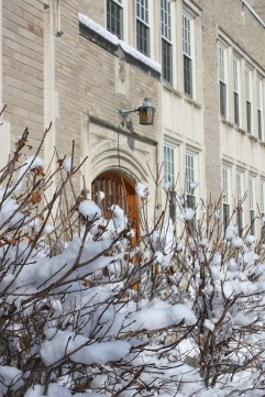 Brr! Hawkins Hall is shown here on a crisp winter day.