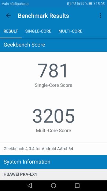Honor 8 Liten Geekbench 4 -tulokset