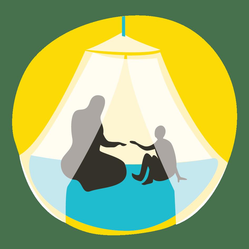 Kuvassa äiti ja lapsi malariaverkon alla suojassa