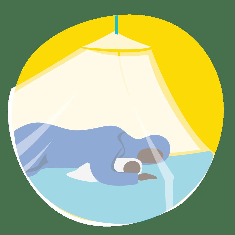 Äiti ja vauva nukkuvat malariaverkon alla suojassa