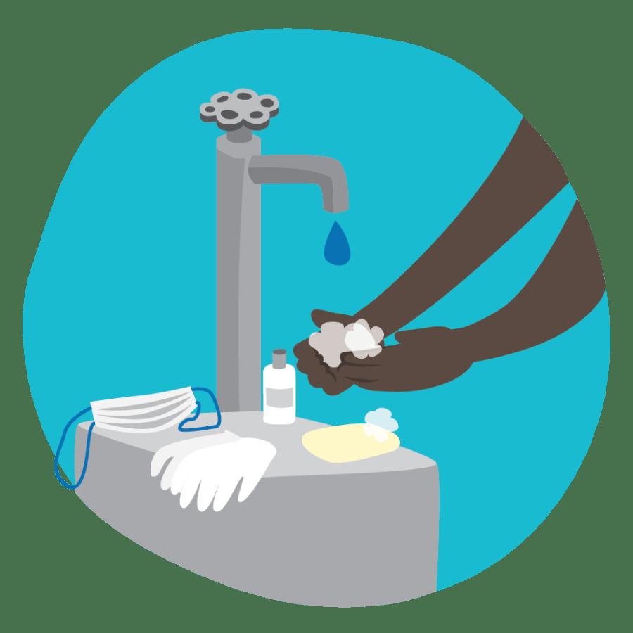 Kuva käsienpesutilanteesta, käsiä saippuoidaan lavuaarilla, jolle on asetettu myös kasvomaski sekä suojahanskat. Linkki infotekstiin hygieniapaketista.