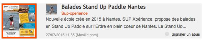 Article SUP Xpérience sur le site Nantes.maville.com