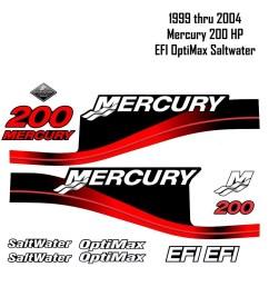 1999 2004 mercury 200hp red decals efi optimax saltwater 15pc repro outboard vinyl sticker decals kit [ 999 x 999 Pixel ]