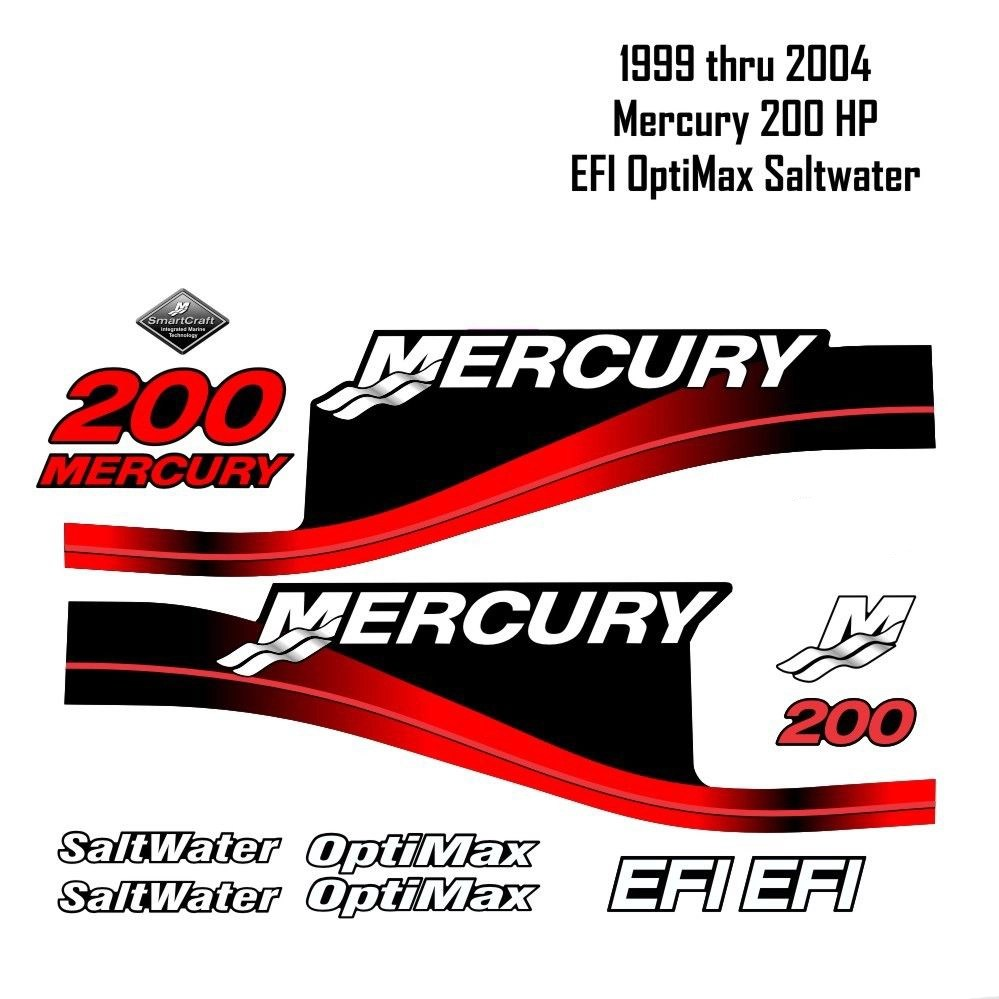 hight resolution of 1999 2004 mercury 200hp red decals efi optimax saltwater 15pc repro outboard vinyl sticker decals kit