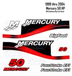 1999 2004 mercury 50hp red decals two four stroke efi bigfoot 11 pc repro [ 1600 x 1600 Pixel ]