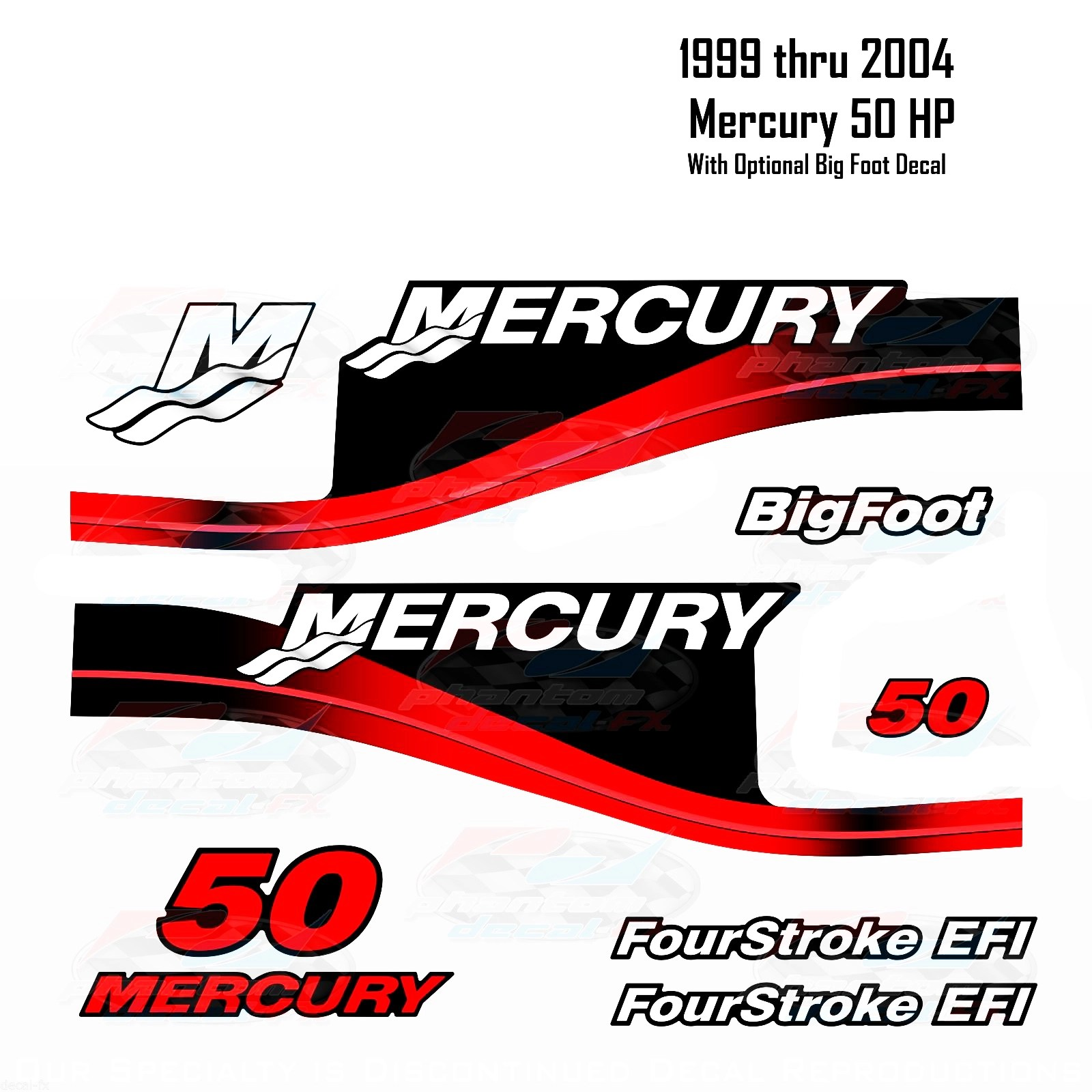 hight resolution of 1999 2004 mercury 50hp red decals two four stroke efi bigfoot 11 pc repro