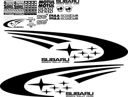 Product: SUBARU IMPREZA WRX STI WRC FULL RALLY STARS VINYL