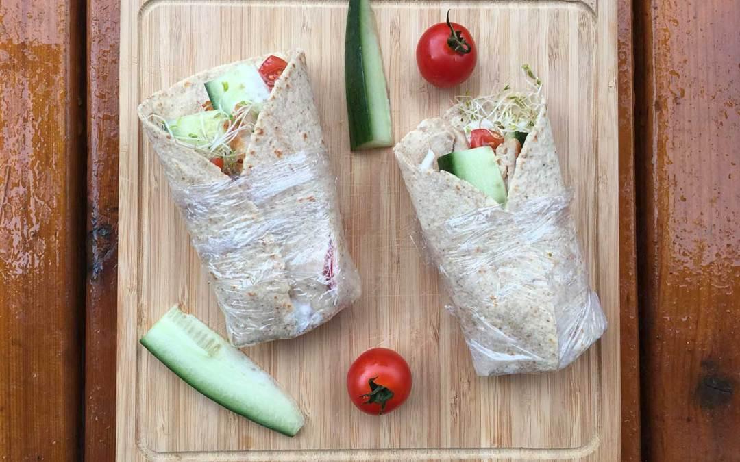 Tortillas de poulet aux légumes & Tzatziki