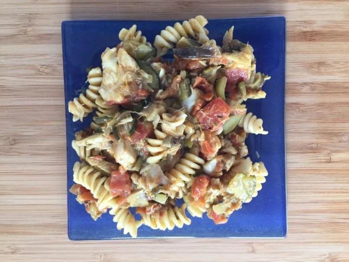 Rotinis au cabillaud, courgettes et tomates