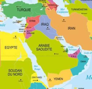 carte du Moyen Orient avec l'Arménie