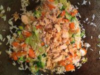 Saumon au riz, brocolis, carottes, poireaux et coriandre pour Super Boîte à Lunch