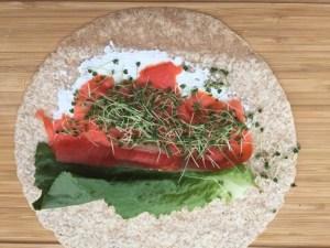 Tortillas au saumon et pousses de Super Boîte à Lunch