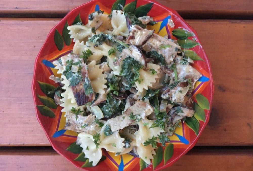 Porc aux Shiitake, baby Kale et sauce à la moutarde (version poulet possible)