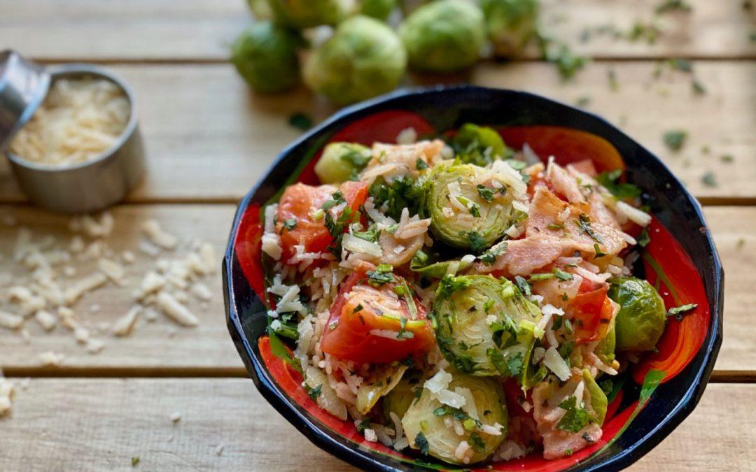 Lunchbox du jour : choux de Bruxelles au bacon, riz, tomates et persil