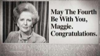 Imagen de la noticia donde felicitaban a Margaret por haber ganado las elecciones, referenciando la famosa frase de Star Wars relacionada con el 4 de mayo.