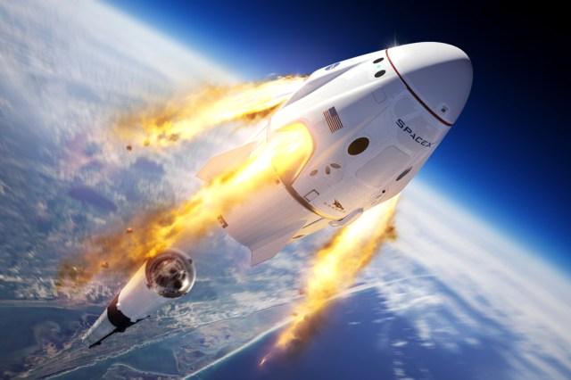 Ilustração do foguete SpaceX Crew Dragon.