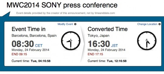 MWC2014 SONY press conference