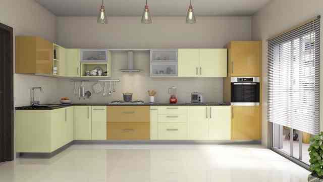 L-Shape Modular Kitchen Interiors India | HomeLane