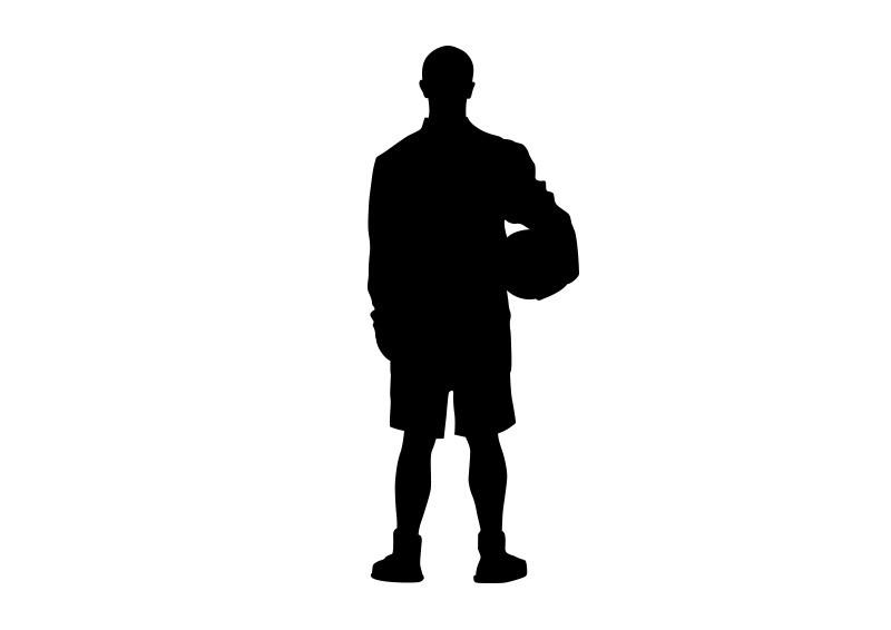 Basketball Player Holding Ball Vector Silhouette