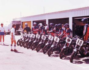 Our first school and first group of students in 1980 at Riverside Raceway.