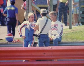 Wayne Rainey, John Ulrich and Keith at Mid Ohio in 1986, just before the National race.