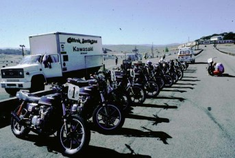 Our 'fleet' of KZ 550's in 1981 on the pit lane at Laguna.