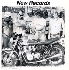 Trackside celebration for a newly set World Endurance Speed Record, 1977. Riders for this record along with Keith were Rich Cox, Paul Dean, Wes Cooley, Byron Farnsworth and Randy Davis.