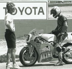 3 time 250cc National Champion, Don Greene with Keith at the starting grid. Willow Springs, 1991.